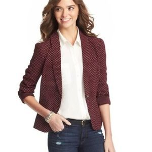 Ann Taylor LOFT Burgundy and gold Polka Dot Blazer